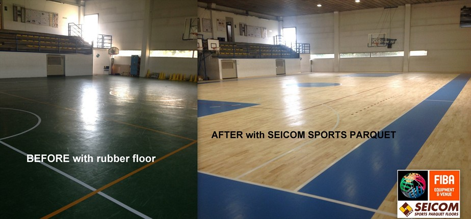 From the old rubber surface to the new Sports parquet Flooring in only 7 days