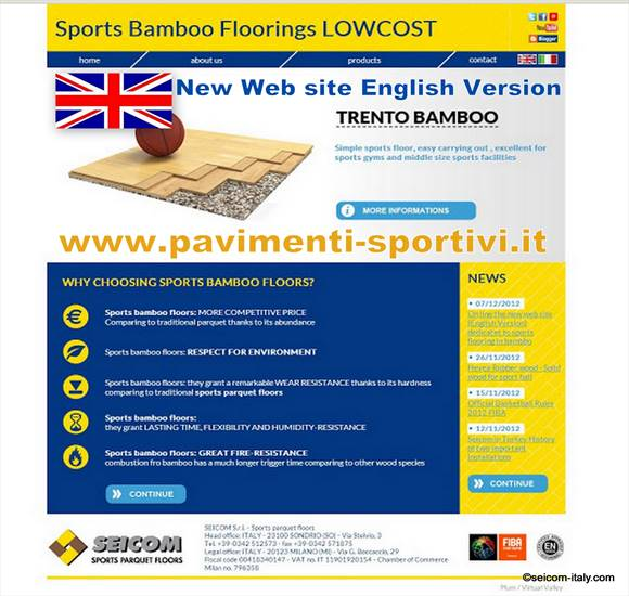 On line the new web site (English Version) dedicatet to sports flooring in bambbo